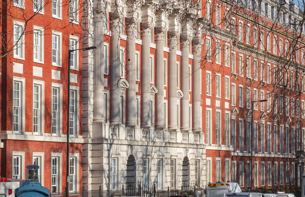 Facade of neo Georgian style building in London, a prime location
