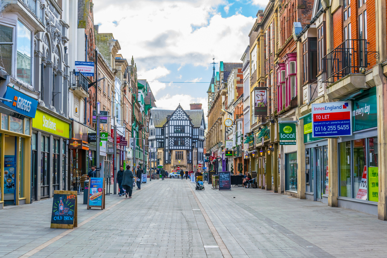 View of a street in Leicester, England