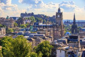 Mountain view point over Edinburgh city.