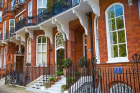 Door entrance of the residential buildings in Kensington. London, UK