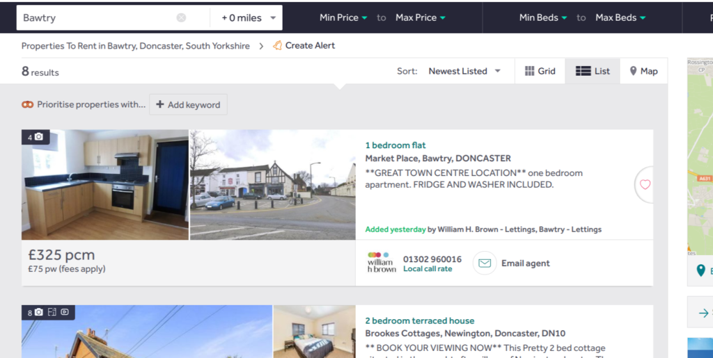 Rightmove rent in Bawtry