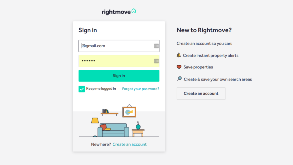 Rightmove sign in or create an account