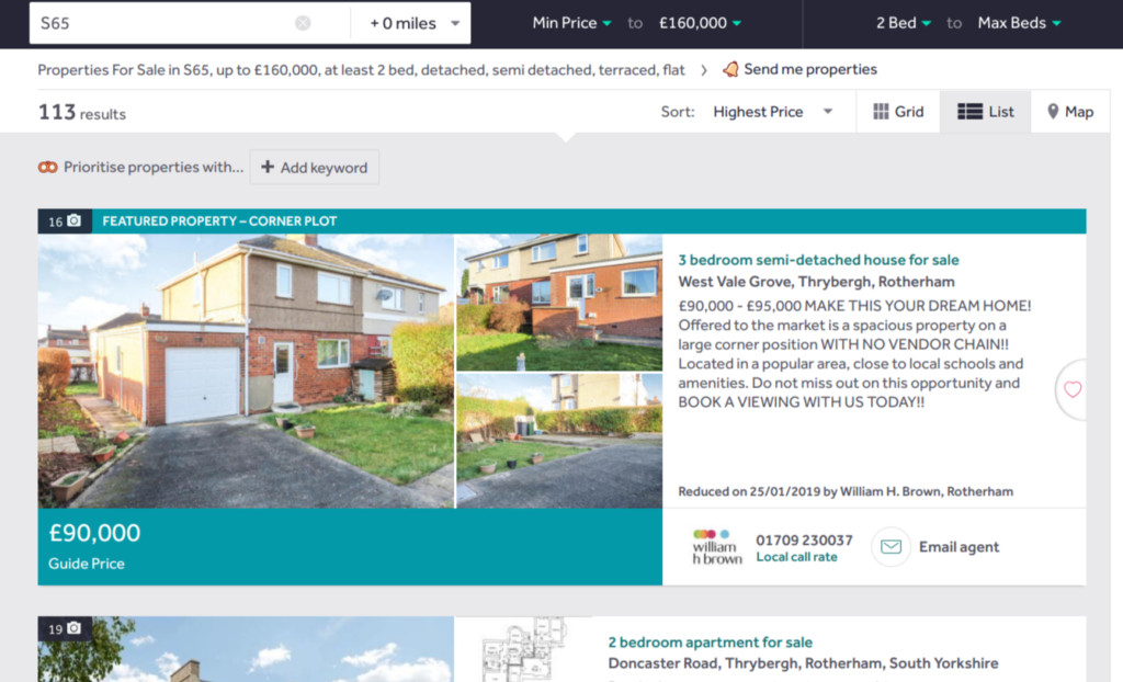 Rightmove 'Where can I afford to live' results page