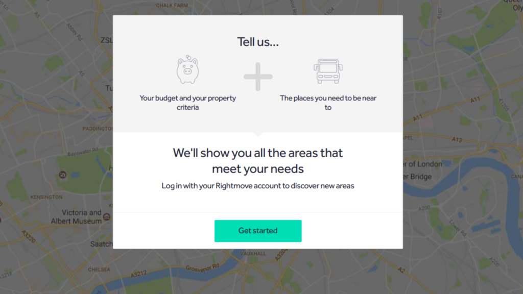 Rightmove 'Where can I live' tool, data input